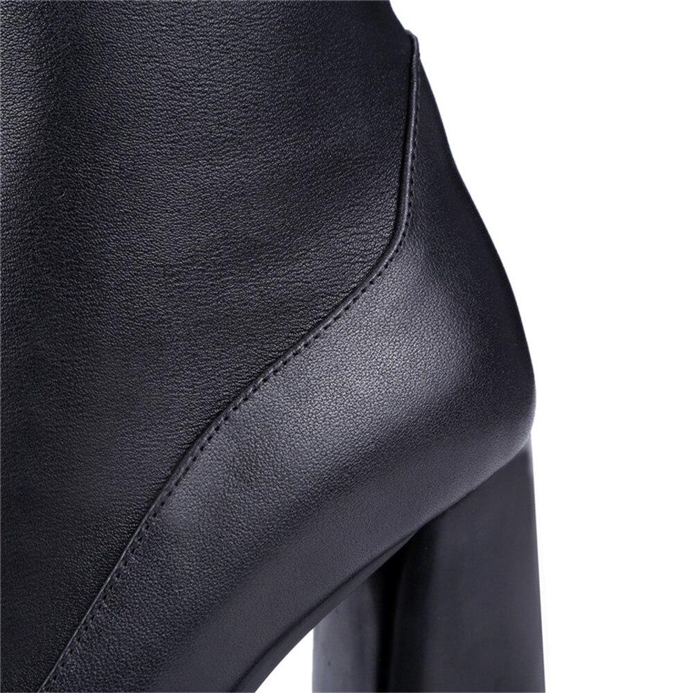 Sexy Pu En Masgulahe Bottes Genou Carré Noir Pointu Cuir Mode Sur Femmes 2018 Talon Le Bout Dames Vache Véritable F6q60vH