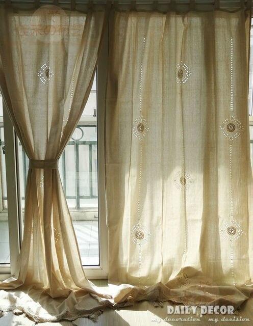 150*255 cm Hoge kwaliteit katoen linnen gehaakte vintage gordijnen ...
