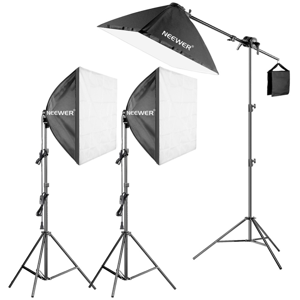 Neewer 600W Pro Photography Softbox Light Lighting Kit - 3 Packs 24x24 Inches/60x60 Cm Softbox With 5W Fluorescent Light Bulb