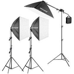 Neewer 600 W Pro fotografía Softbox luz Kit-3 paquetes 24x24 pulgadas/60x60 caja difusora de cm con bombilla fluorescente de 5 W