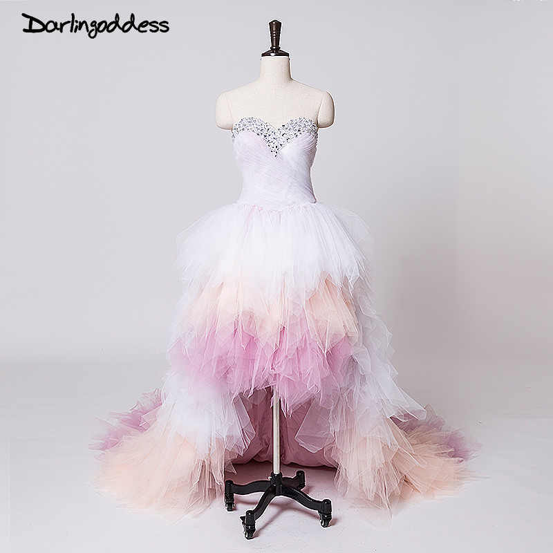 Ombre Bröllopsklänningar Plus Storlek Kort Fram Lång Tillbaka Sweetheart Ruffles Crystal Billiga Bröllopsklänningar Vestido De Noiva