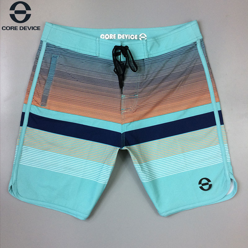 CORE DEVICE Striped Water Repellency Stretch Summer Board Shorts Swimwear