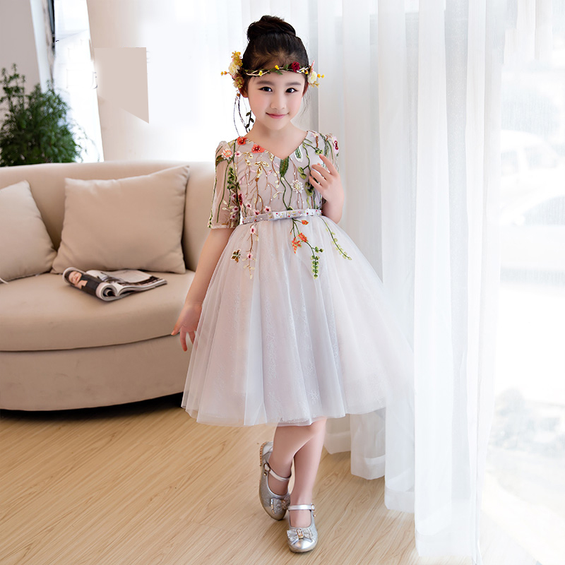 Fashion 2017 Sweet Lace Pierced Embroidery Floral Print Knee Length Princess Kids Dress For Girls Wedding Flower Girls Dress P85 trendy women s sweetheart neck sleeveless floral print knee length dress