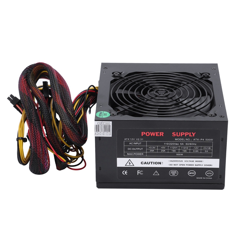 170-260V Max 500W alimentation Psu Pfc ventilateur silencieux 24Pin 12V Pc ordinateur Sata Gaming Pc alimentation pour ordinateur Intel Amd Us