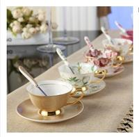British Vintage Rose Bone China Tea Cup Saucer Spoon Set 200ml Advanced Porcelain Coffee Cup Europe Cafe Afternoon Teacup