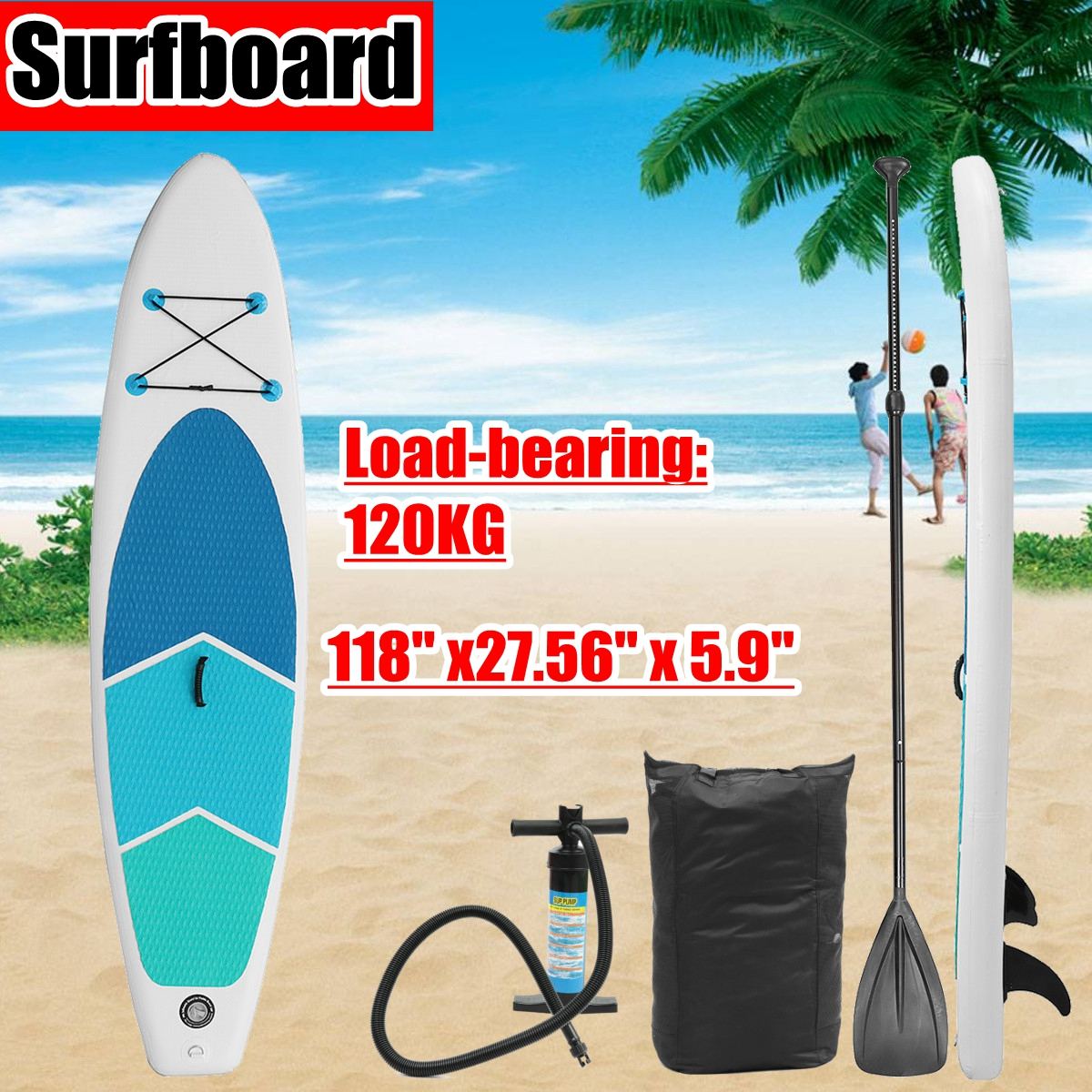 Gofun 3 m X 0.7 m X 0.15 m Pouces Stand Up Paddle Planche De Surf Gonflable Conseil SUP Ensemble Vague R ider + Pompe gonflable planche de surf paddle bateau