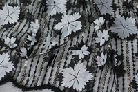 6 Colors AI85 5yards Pc Top Quality Tulle Lace Fabric With Black 3D Flowers African