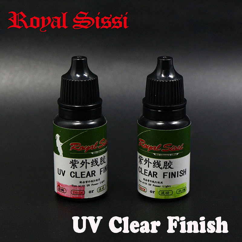 Royal Sissi 2bottles fly tying UV clear Finish glue thick&flow assorted instant cure high clear UV exposy glue fly tying varnish longevita uv cure eco