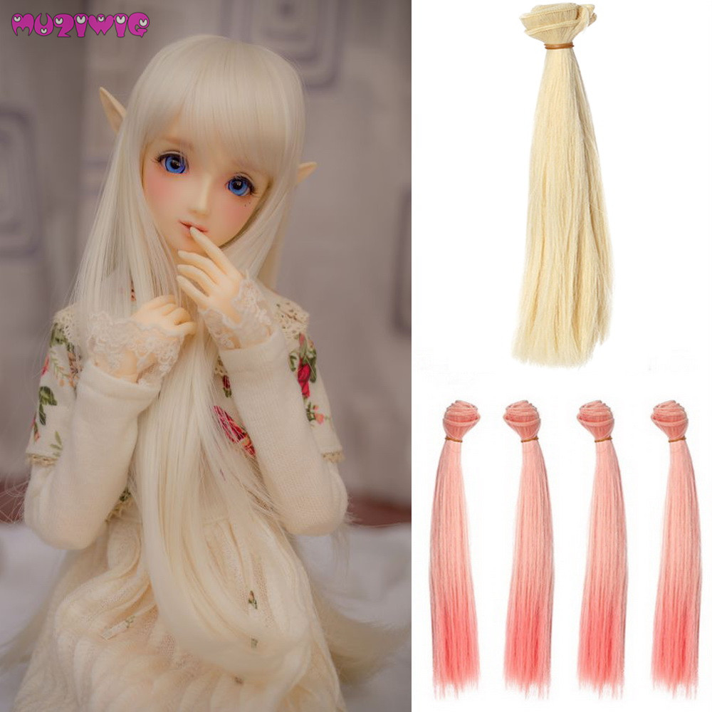 1pc 25cm Length Synthetic Natural Straight Hair Wefts For BJD 1/3 1/4 1/6 Dolls DIY Accessories