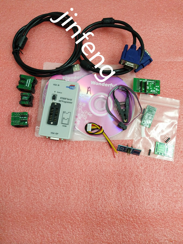 RT809F Programmer +7 Adapters+SOP16 SOP20 IC Clip Motherboard Reader LCD BIOS ISP/ USB/ VGA w/ Engilsh Softerware mc14049ubdr2g sop16