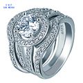 3Pcs/Lot Wedding Rings Set For Men And Women Round CZ Diamond Jewelry White Gold Plated Bague Femme Engagement Finger Rings