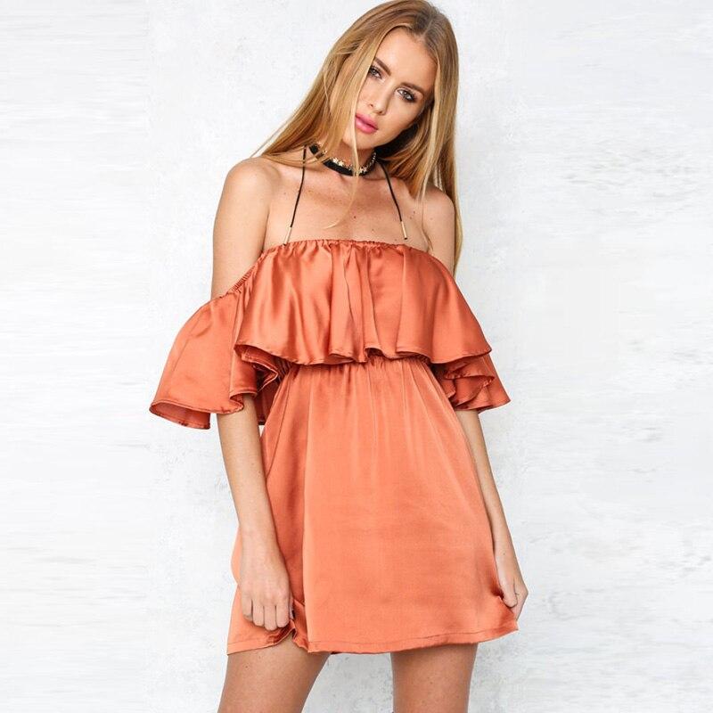 8f82c80acc Aliexpress.com   Buy Satin Ruffle Off Shoulder Summer Autumn Dress Women  Elegant High Waist Beach Dress Sexy Slash Neck Dresses 2016 Glossy from  Reliable ...