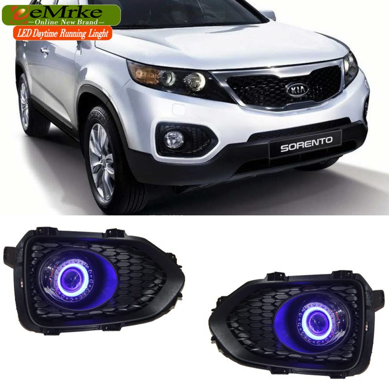 EEMRKE LED Daytime Running Lights For Kia Sorento R 2011-2014 XM Angel Eyes DRL Fog Lights Lamp H3 55W Halogen Bulbs Kits eemrke led angel eyes drl for suzuki aerio liana 2005 2006 2007 fog lights daytime running lights h3 55w halogen cut line lens