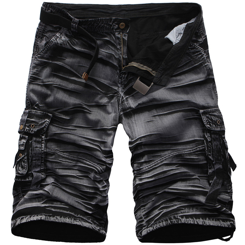 Men Summer Casual Shorts 100% Cotton Multi-pocket Camouflage Mens Cargo Shorts Male Loose Work Shorts Man Military Short Pants