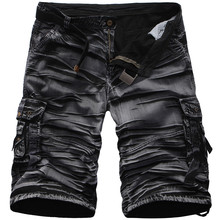 Men Summer Casual Shorts 100% Cotton Multi-pocket Camouflage Mens Cargo Male Loose Work Man Military Short Pants
