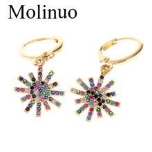 Molinuo exquisite paved Multicolor cubic zirconia firework drop earrings charm lovely girl woman dangle 2019 new
