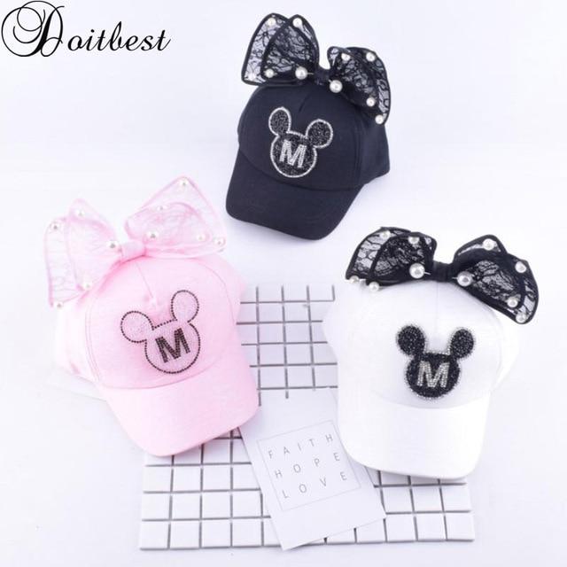 Doitbest Children Hip Hop Baseball Cap Summer Baby rabbit ear pearl bow kids Sun Hat Boys Girls snapback Caps for 2-8 years old