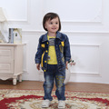 NEW baby boy spring autumn cotton denim newborn boys set cowboy coat+t shirt+jeans 3pcs toddler boys suits