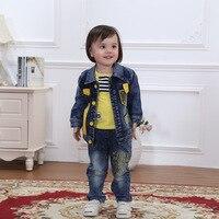 NEW baby boy spring autumn cotton denim newborn boys set cowboy coat+t shirt+jeans 3pcs toddler boys suits