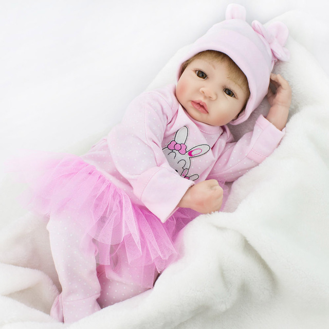 NPK DOLL Reborn Baby Doll Lifelike Newborn Girl Pink Princess Dress Educational Soft Silicone 22 inch Christmas Gift Kids playma