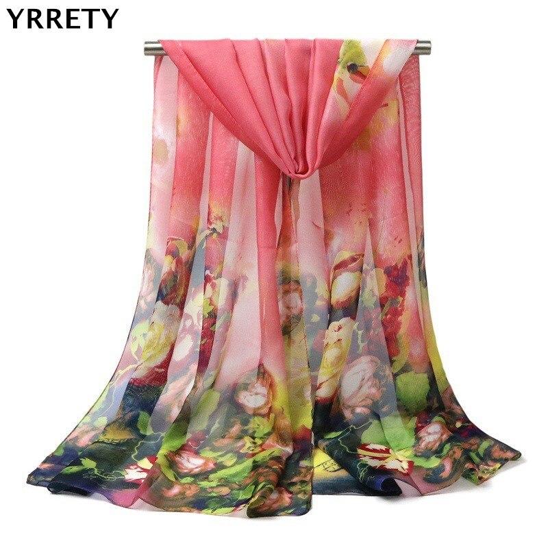 YRRETY New   Scarf   Women Fashion Soft Thin Chiffon Silk   Scarf   Flower Printed Female Painting Mujer   Scarves     Wrap   Shawl Gift   Scarves