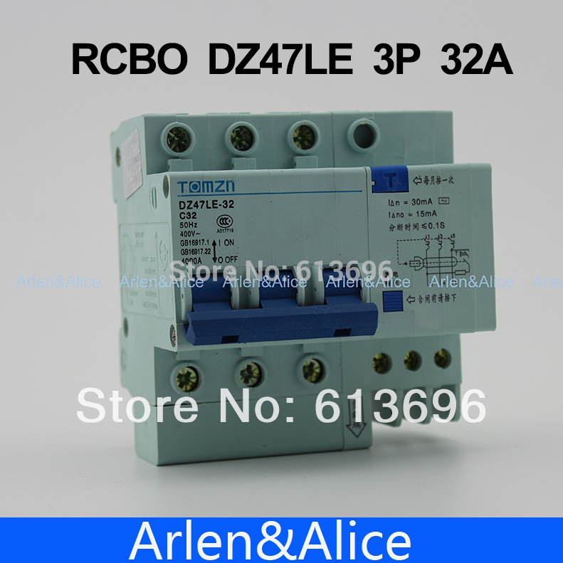 3P 32A DZ47LE 400V~  Residual current Circuit breaker with over current and Leakage protection RCBO3P 32A DZ47LE 400V~  Residual current Circuit breaker with over current and Leakage protection RCBO