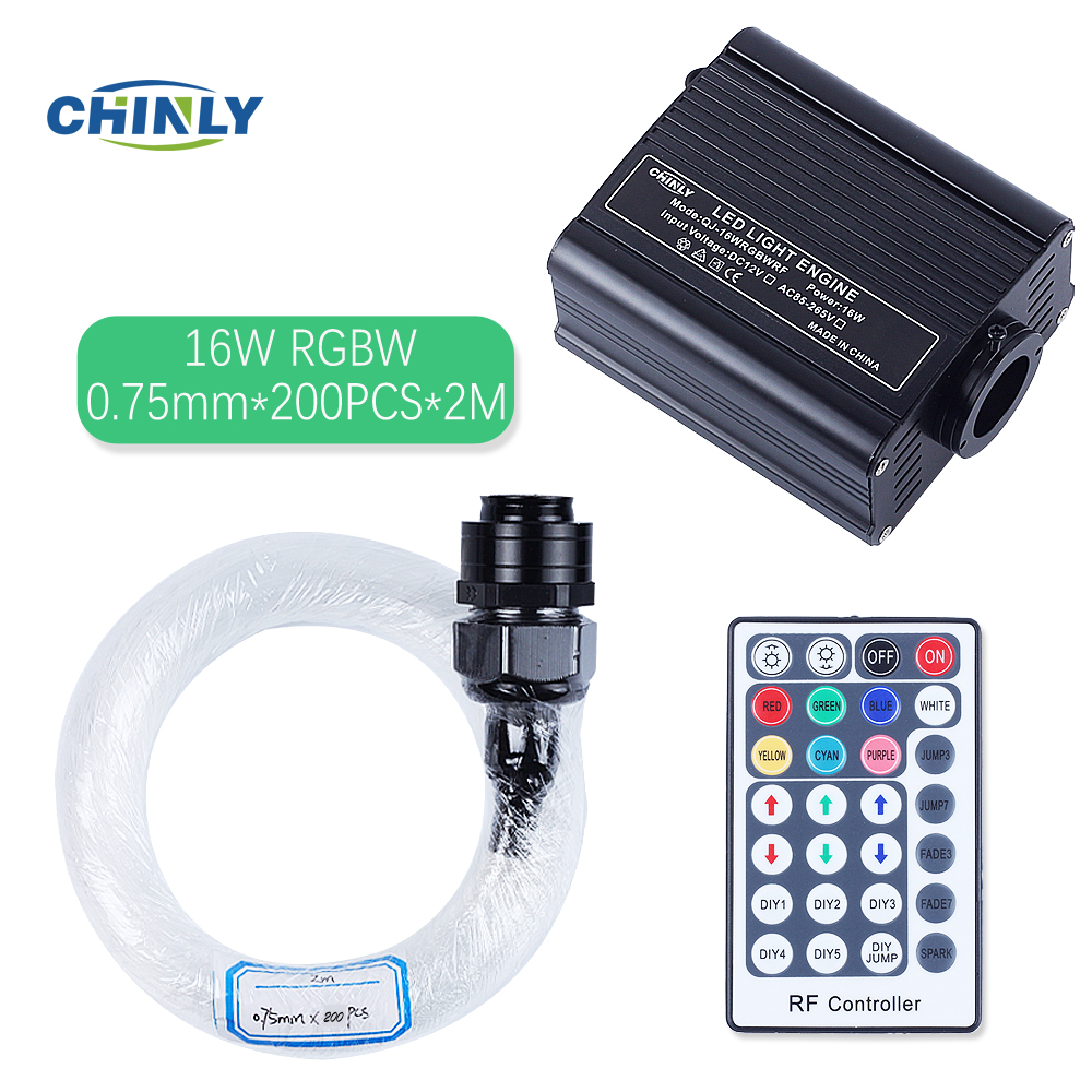 16W RGBW Light Engine LED Plastic Fiber Optic Star Ceiling Lights Kit 200pcs 0.75mm 2M optical fiber cable with 28 Key RF Remote dmx 16w rgbw led plastic fiber optic star ceiling kit lights 200pcs 0 75mm 2m optical fiber lighting 28key rf remote