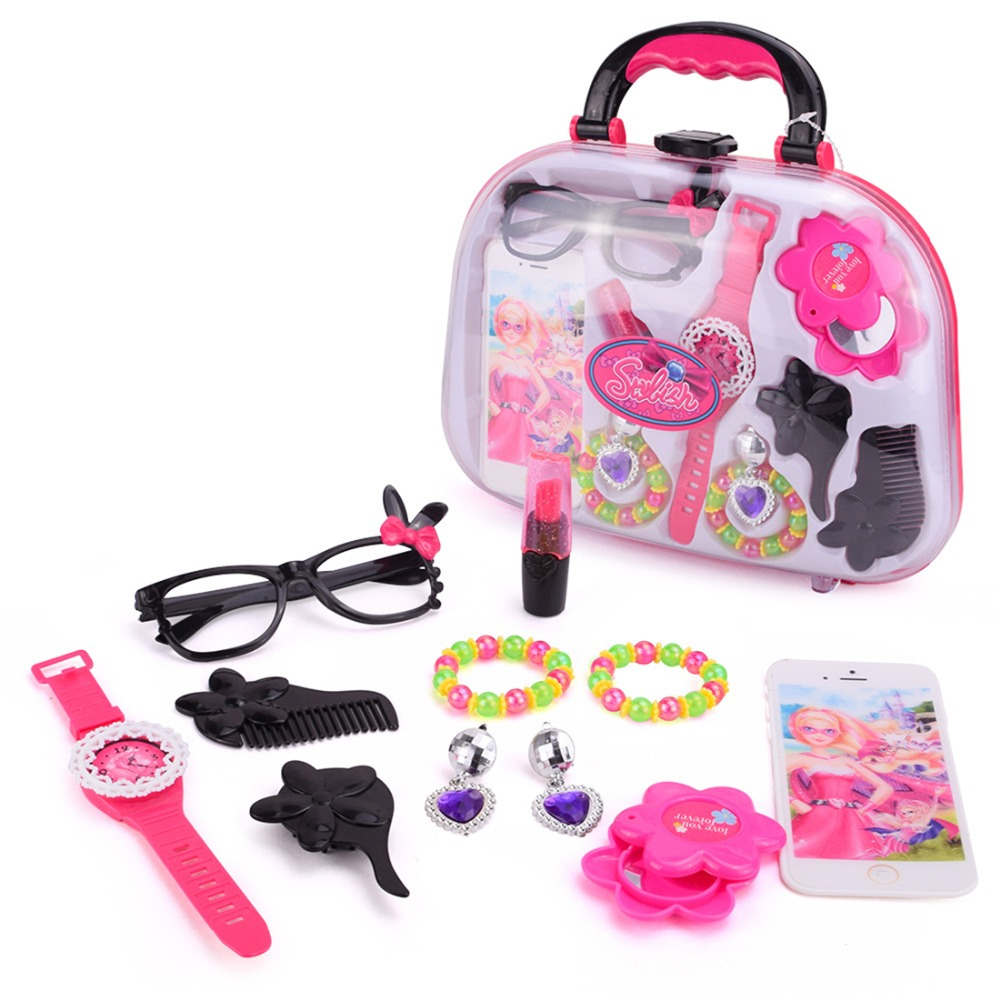 12Pcs Pretend & Play Toy Emulational Makeup Electric Hair Drier Kit Baby Girls Preschool Kid Beauty Fashion Toys Game For Girl image