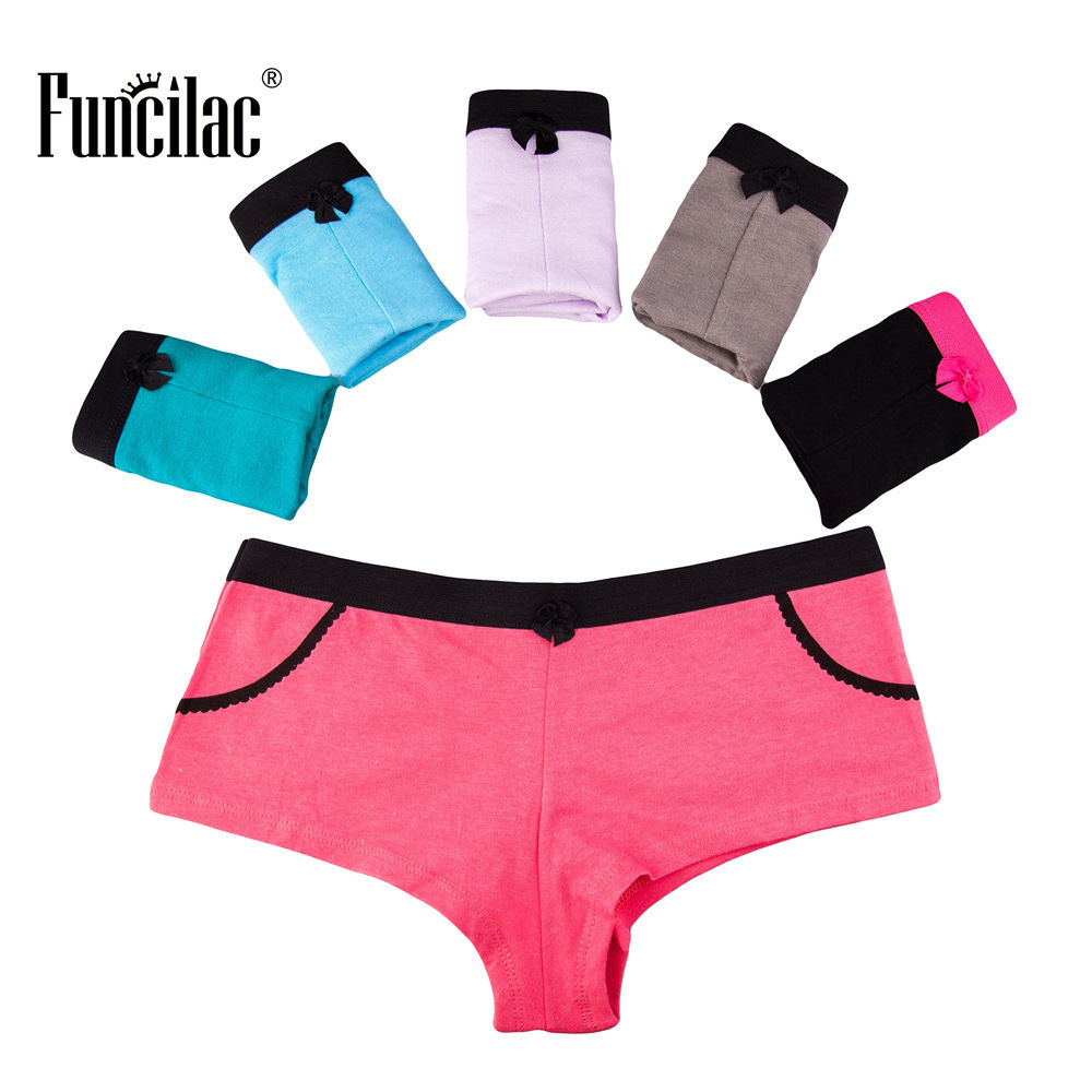 FUNCILAC Underwear Women Sexy Boyshorts Cotton Panties Briefs For Women BowKnot Underpants Ladies Lingerie Knickers 5Pcs/Lot