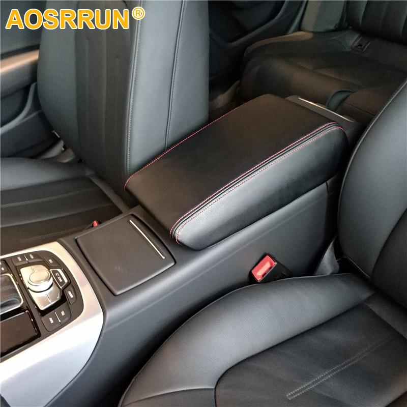 AOSRRUN PU Leather Car Armrest Box Cover Car Accessories For Audi A6 C6 C7 2005-2011 2012-2018