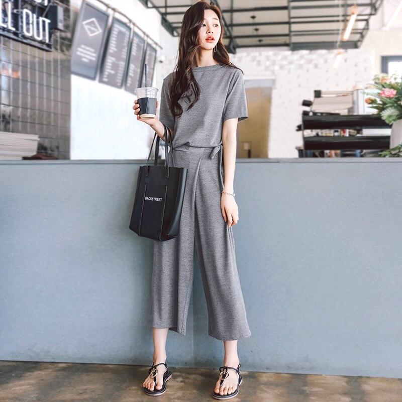 dc6577aa1 Gris Basa Dos Traje Pantalón De Pantalones Ancho La Las Mujeres Camisa 1  Moda Nueva Verano Elegante ...