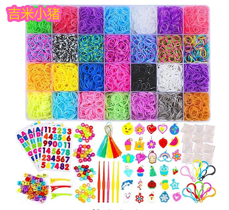 10000pcs 21color Loom Bands For Children Girl Gift Elastic Rubber Bands For Weaving Lacing Bracelet Toy Orbits For Kids 2019 New