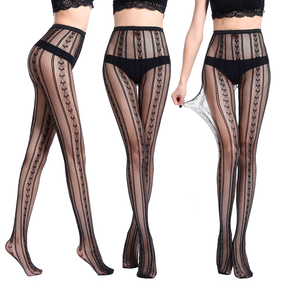 ffbcabc442e New Women Sexy Lingerie Stripe Elastic Stockings Transparent Black Fishnet  Stocking Thigh Sheer Tights Embroidery Pantyhose