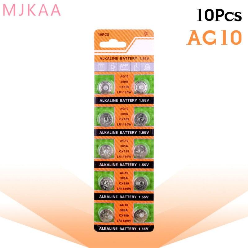 10PCS/pack AG10 LR54 Cell Coin Alkaline Battery 1.55V SR54 389 189 LR1130 SR1130 Button Batteries For Watch Toys Remote