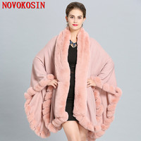 SC280 2018 Women Winter Shawl Fake Fox Fur Big Long Collar Loose Poncho Capes Cardigan Coat Plus Size Cloak White Pashmina