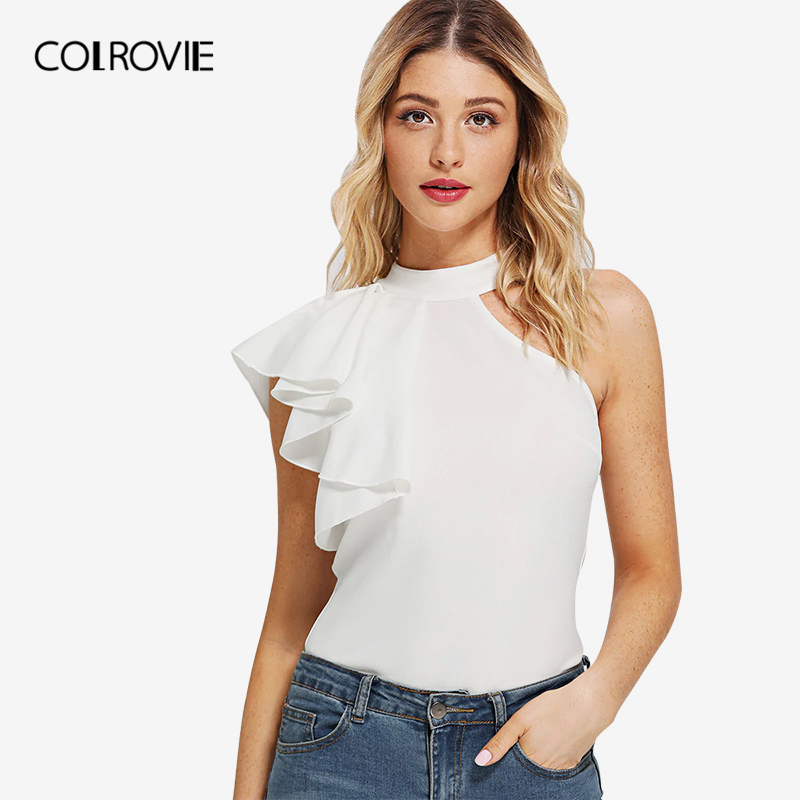COLROVIE Beige Stand Collar One Side Flounce Elegant   Tank     Top   Female 2019 Summer Style Office Ladies Clothing Women Shirts