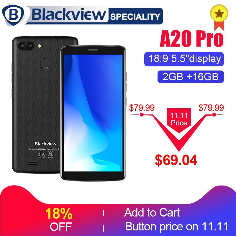 "Blackview A20 Pro смартфон 18:9 ""5,5 HD + полный экран Android 8,1 MT6739 4 ядра 2 ГБ 16 ГБ двойной назад камеры 4G мАч gps 3000 телефон"
