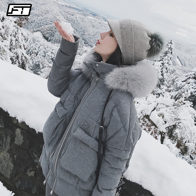Fitaylor Real Fox Fur Collar White Duck Down Parkas Winter Women Slim Hooded Jackets Warm Snow