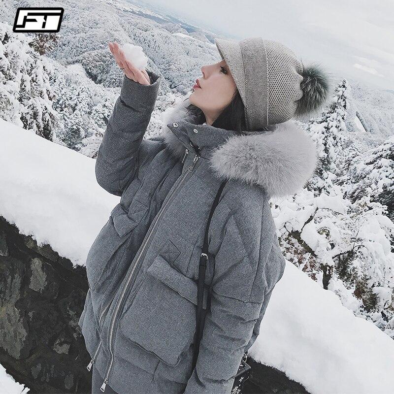 375a723d Fitaylor Real Fox piel Collar blanco pato abajo Parkas invierno mujeres  Slim chaquetas con capucha ...