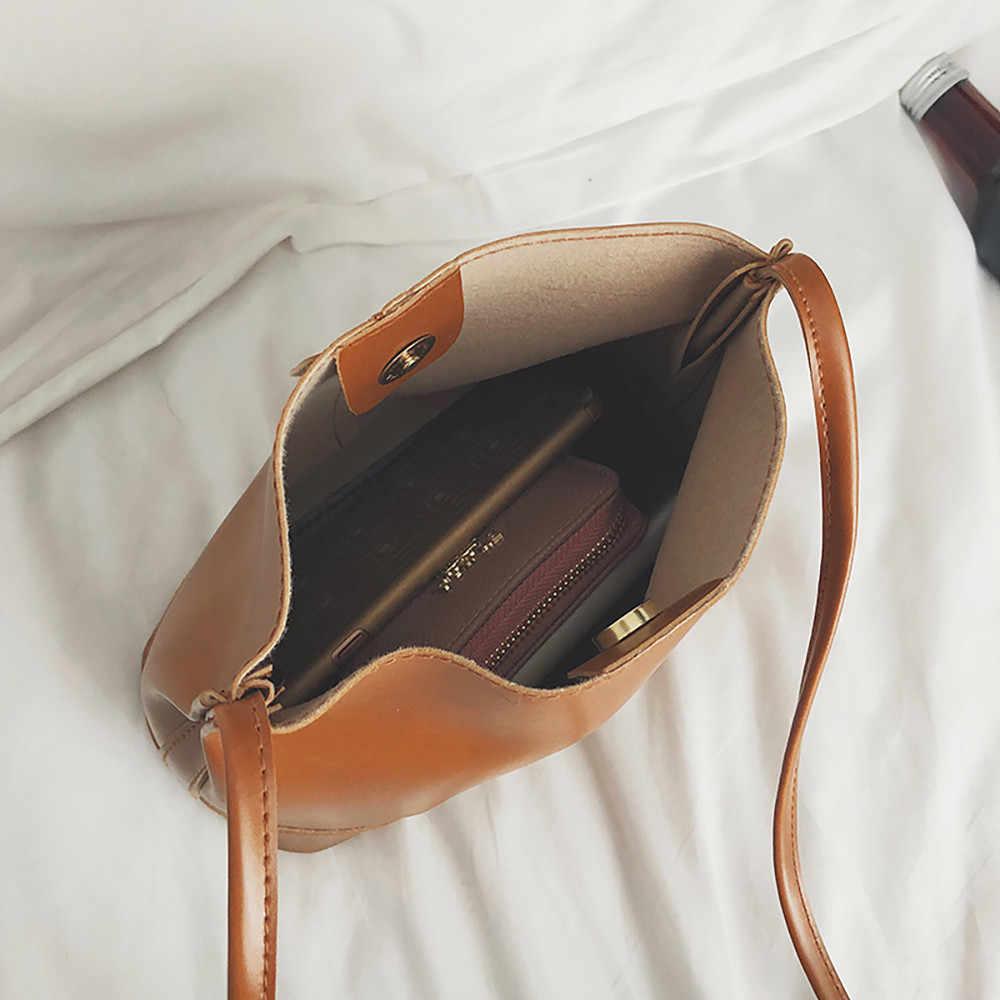 ... Women s Bucket Bags PU Leather Large-capacity Messenger Handbag Single Shoulder  Wild Shell Atmosphere Clutch 0d46d63f2b9ef