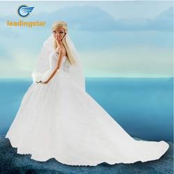 LeadingStar Hochzeit Kleid für Puppe Prinzessin Abend Party Kleidung Trägt Lange Kleid Outfit Set für Puppe mit Schleier Puppe Kleid