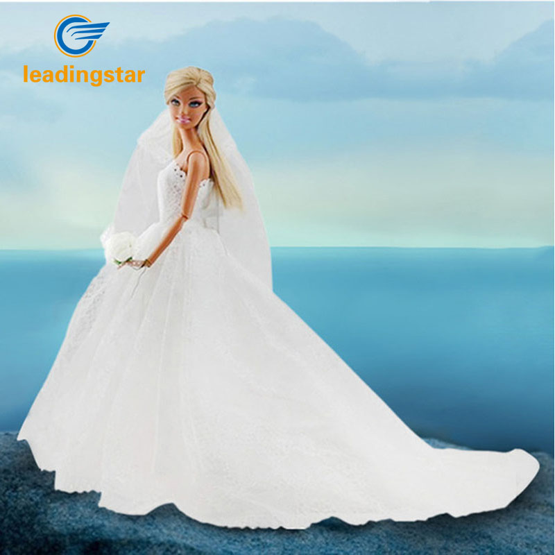 LeadingStar Wedding Dress for Doll Princess Evening Party Clothes Wears  Long Dress Outfit Set for Doll 01c4ccc0d2d8