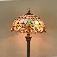 16 дюймов Тиффани барокко пятнистости Стекло торшер E27 110 240 В для домашнего кафе столовая местный номер стоя лампа