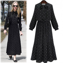 2019 Boho Summer Pleated Maxi Dress Long Sleeve Black Bow Tie Plus Size Polka Dot Tunic Beach Long Dress XXXL plus size polka dot floral tunic tank top