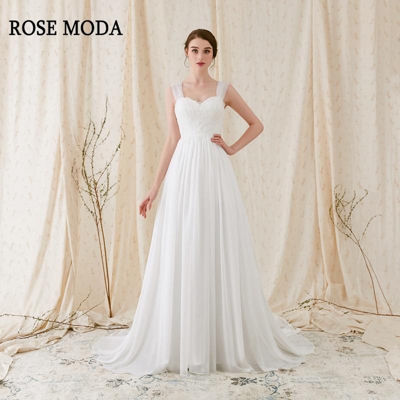 Rose Moda Cap Sleeves Chiffon Boho Wedding Dress with Bow Lace Bohemian Wedding Dresses 2019 Real Photos