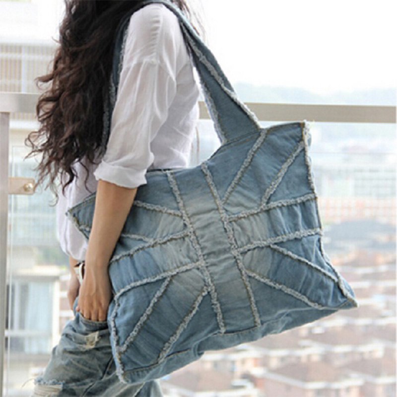 2017 New vintage blue women handbag large capacity fashion UK flag cross denim bag casual shoulder bag canvas tote 2 Colors
