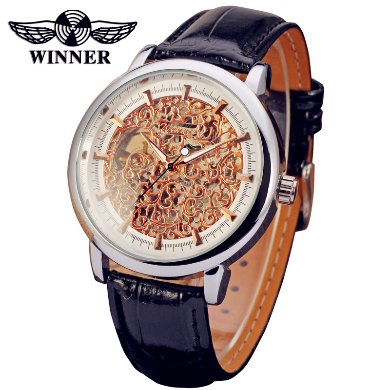 Fashion WINNER Men Luxury Brand Casual Skeleton Leather Strap Watch Automatic Mechanical Wristwatches Gift Box Relogio Releges аст