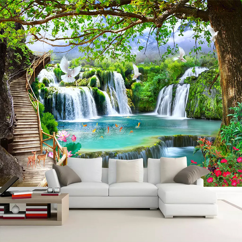 Custom 3D Simple Green Big Tree Forest Waterfall Landscape Bedroom Living Room Decoration Wall Cloth Mural Textile Background