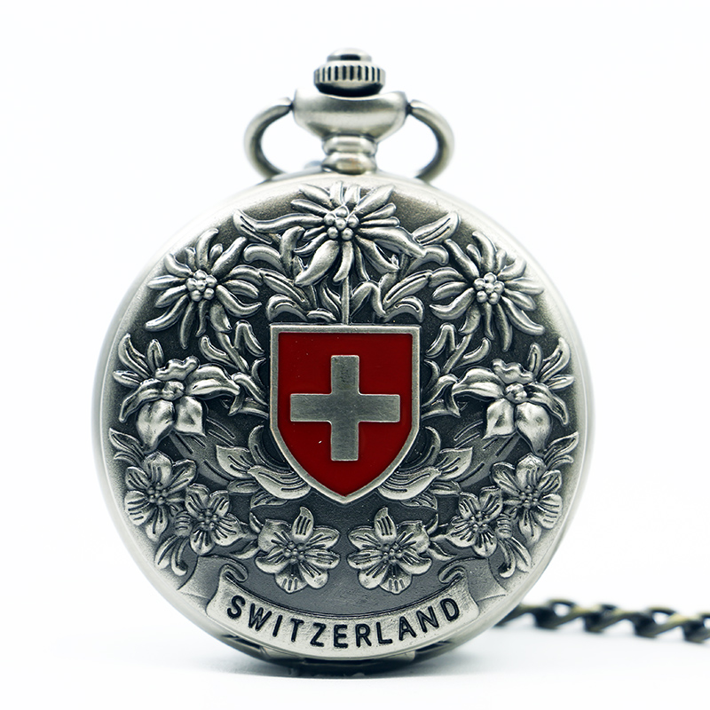 10pcs/lot Retro Bronze Red Cross Carving Mechanical Pocket Watch Chain Antique Fob Steampunk Watches Men Women Gifts
