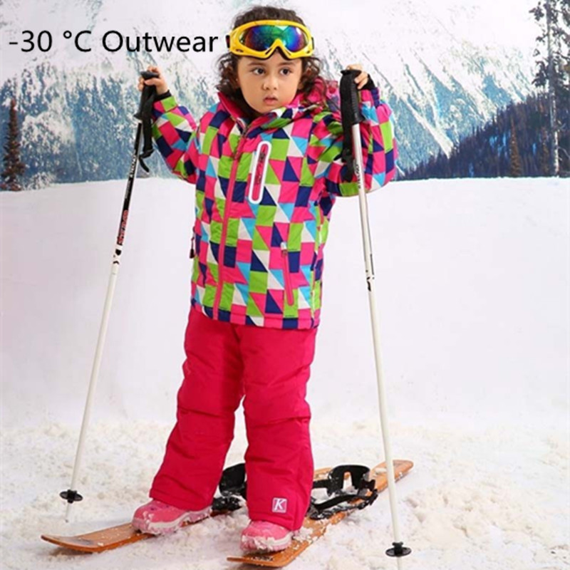 For -30 Degree Children Outerwear Warm Coat Sporty Ski Suit Kids Clothes Sets Waterproof Windproof Girls Jackets For 3-16T gsou sfor 30 degree warm coat sporty ski suit waterproof windproof girls jackets kids clothes sets children outerwear for 3 16t